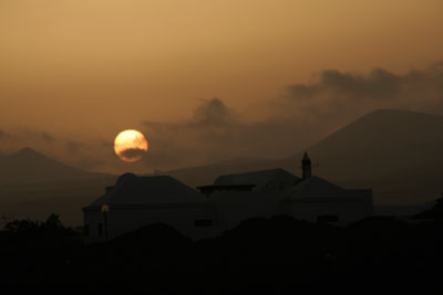 Sunset over the Volcanic island of Lanzarote